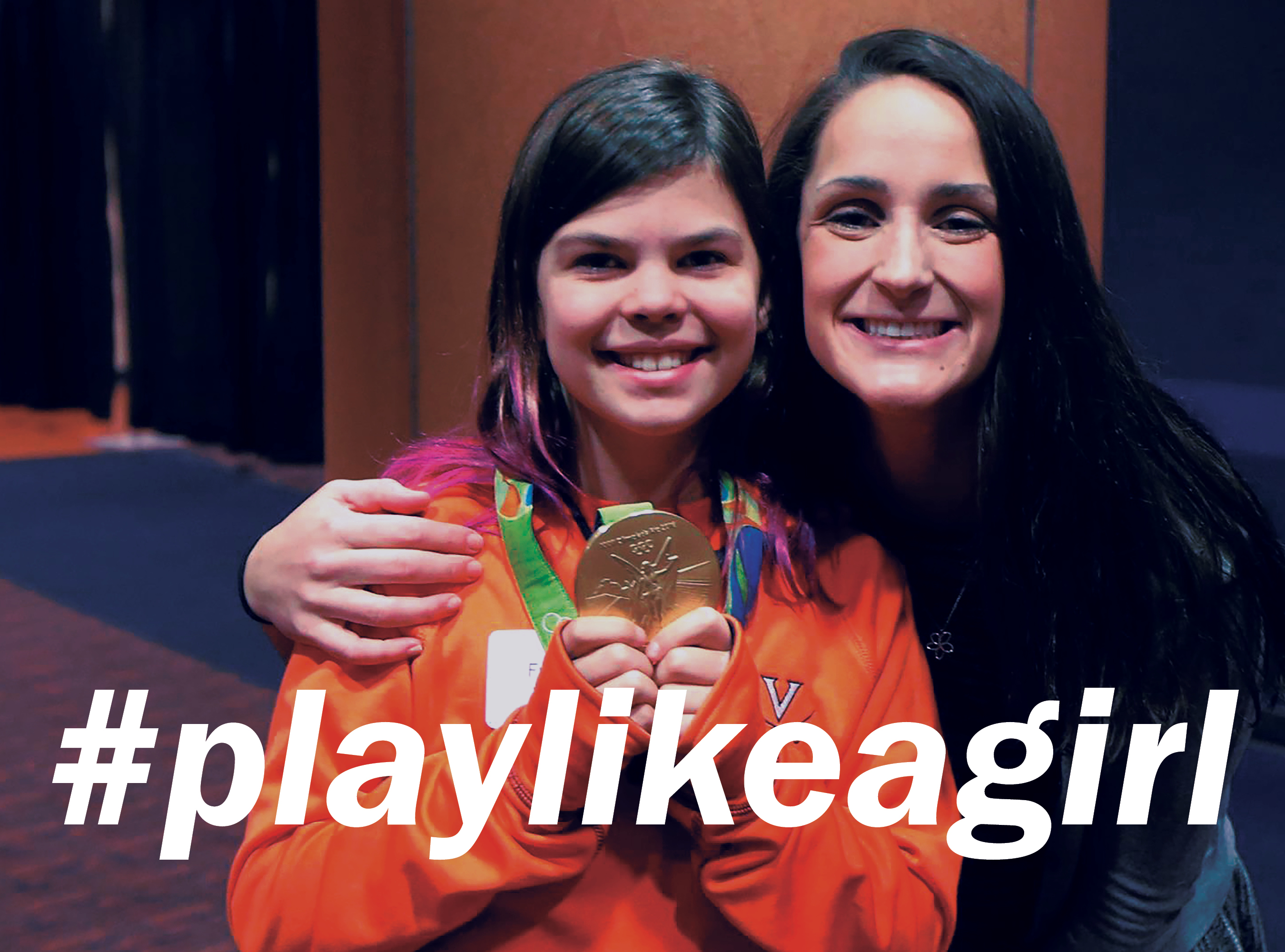 girl wearing olympic gold medal with Leah Smith