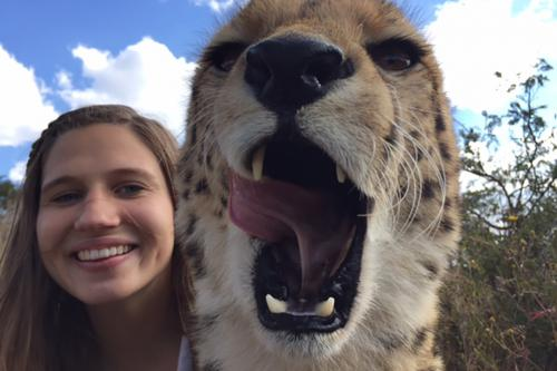 student with cheetah in Zambia