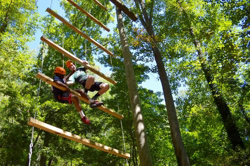 MLP Big and Little Brother work together to climb the Poplar Ridge Challenge Course ladder